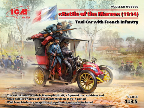 Battle of Marne 1914, Taxi car with French Infantry