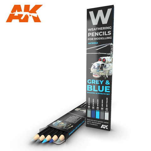 Watercolor Pencil Set Grey and Blue Camouflages