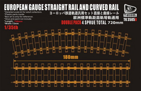 European Gauge Straight Rail and Curved Rail Lenght 72cm 1/35