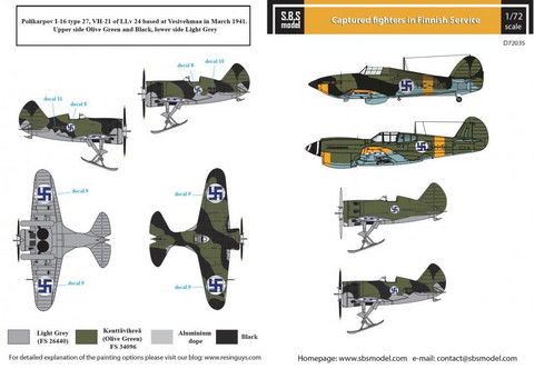 Captured Fighters in Finnish Service (Curtiss P-40 Warhawk, Hawker Hurricane Mk.IIA, Polikarpov I-16  1/72