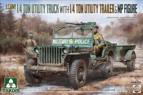 US Army Jeep with Trailer and MP Figure  1/35
