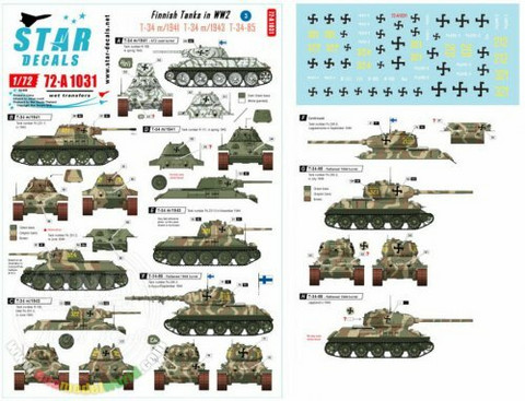 Finnish Tanks in WWII #3 T-34/76 m1941, T-34/76 m1943 T-34/85  1/72
