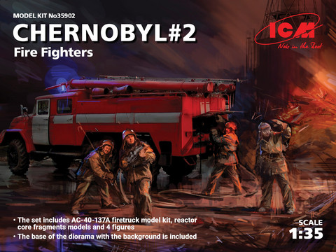Chernobyl Fire Fighters (AC-40-137A Fire Truck & Four Figures & Diorama Base with Background  1/35
