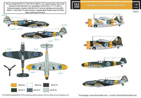 Hans Wind Finlands Top Ace II (Messerschmitt Bf-109G-2/G-6, Brewster B-239 Buffalo)  1/48