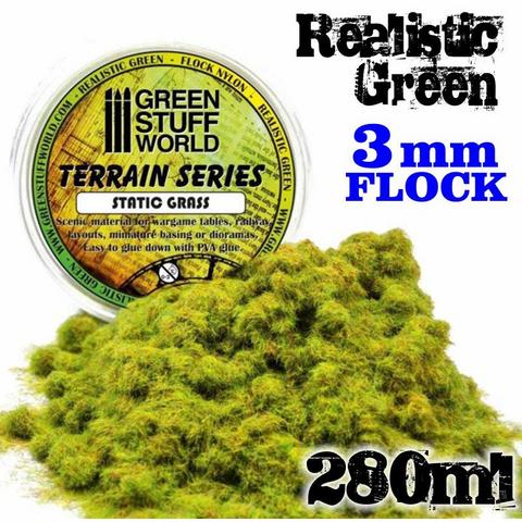 Static Grass Flock Realistic Green 3mm  280ml