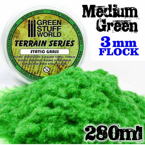 Static Grass Flock Medium Green 3mm  280ml