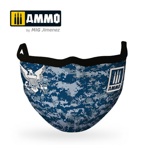 Ammo Navy Blue Camo Face Mask