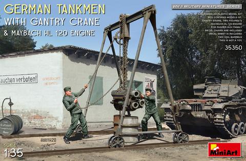 German Tankmen & Gantry Grane & Maybach HL120 Engine  1/35