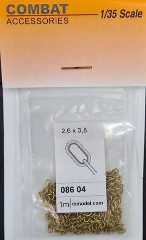 Messinkiketju 4 lenkki 2,60x3,80mm (Pakkauksessa 1m)