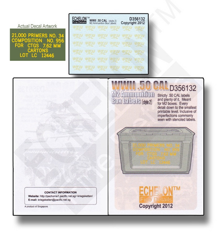 WWII .50 Ammo Box Labels (2)  1/35