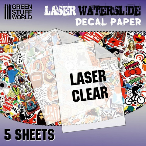 Waterslide Decal Paper A4 Clear (Laser) 5 sheets