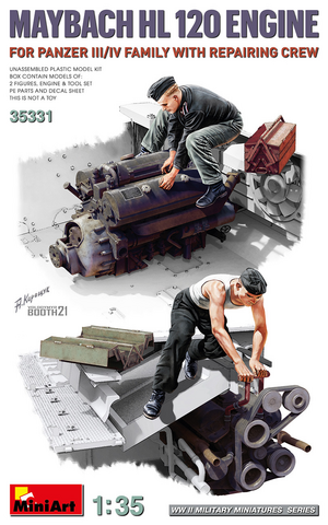 Maybach HL120 Engine for Panzer III/IV & Repair Crew  1/35