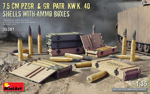 7.5cm Pzgr. & Gr.Patr.KwK 40 Shells with Ammo Boxes  1/35