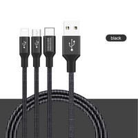 Swift 3-in-1 HQ cable, MicroUSB+Type-C+Lightning port 1,5m - Black