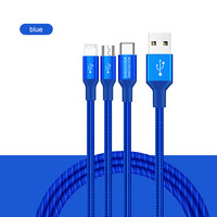 Swift 3-in-1 HQ cable, MicroUSB+Type-C+Lightning port 1,5m - Blue