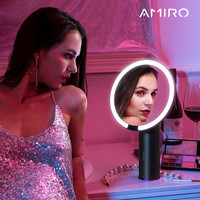 Amiro O-Series HD Daylight Mirror rechargeable Purelux LED-meikkauspeili - Black