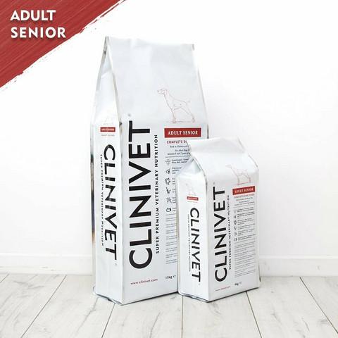 CLINIVET Adult Senior 14 kg - Vehnätön senioriruoka ikääntyville koirille
