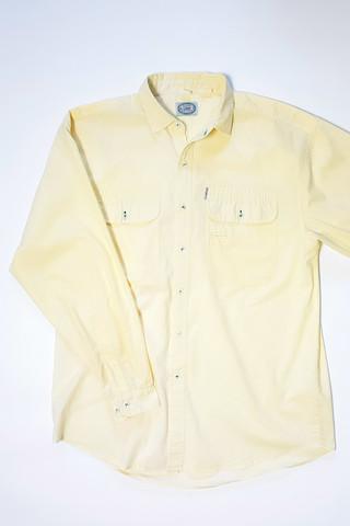 90-luvun vaaleankeltainen miesten kauluspaita, L-XL