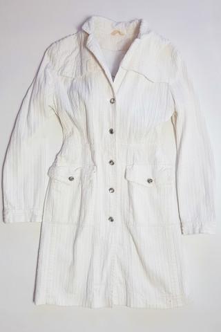 80-90-luvun valkoinen vakosamettitakki, S