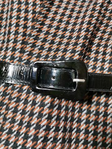 Vintage musta kiiltonahkavyö isolla soljella, S-M