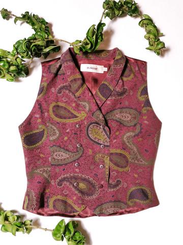 90-luvun naisten tyköistuva paisley-liivi, 38-40