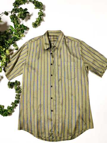 90-luvun miesten raidallinen silkkikauluspaita, S-M