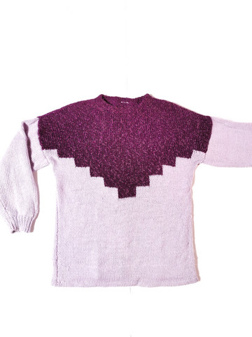 90-luvun käsinneulottu vaaleanvioletti villapaita, M-XL