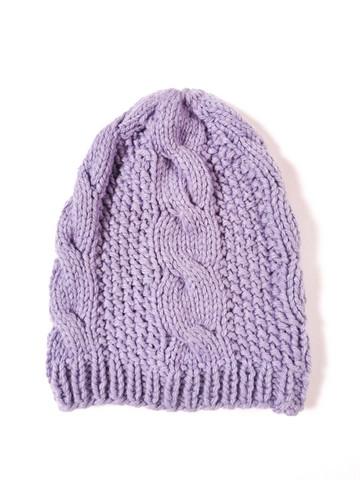 Käsityönä neulottu vaaleanvioletti villapipo