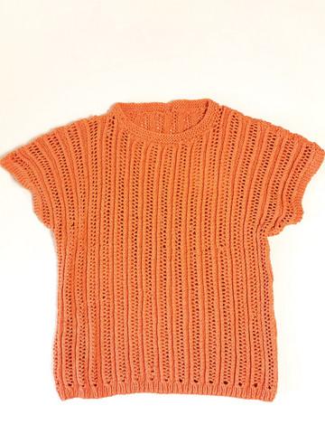 90-luvun persikan oranssi puuvillaneule, S-M