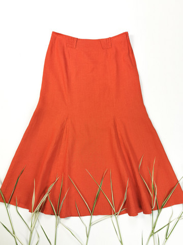 Kotimainen murrettu oranssi nilkkapituinen pellavahame, M