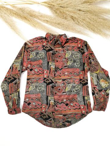 90-luvun kiiltävä kuviollinen viskoosipusero, miesten S-M