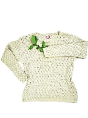 90-luvun vihreä puuvillainen pitsineule, M-L