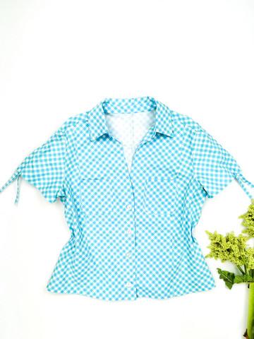 Sinivalkoinen paita kiristysnyöreillä, 2000-luvun alku, XL