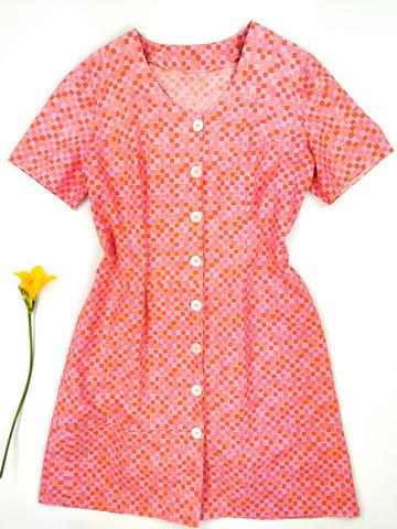 80-luvun paitamekko Marimekon Happi-kankaasta, L-XL