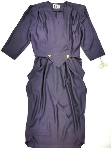 Kotimainen 80-luvun taskullinen tulppaanihelmainen Tazzia -mekko, S-M
