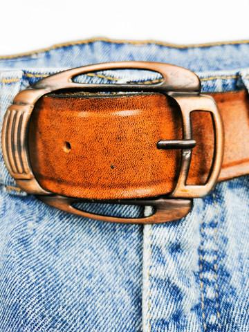 Kotimainen paksu nahkavyö metallisoljella, 70-luku