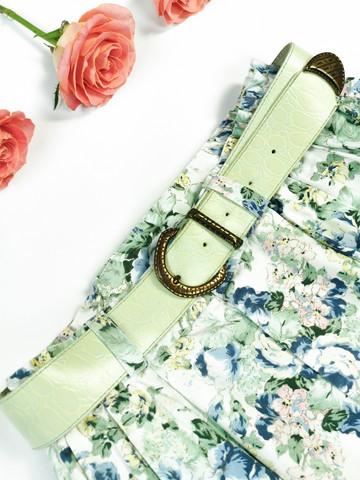Mintunvihreä vintage nahkavyö krokotiilikuviolla, S-M