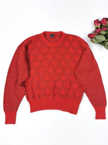 Kotimainen Vuolan punainen villasekoiteneule, XS-S