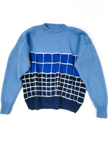 Retro käsinneulottu siniruutuinen villapaita, S-M