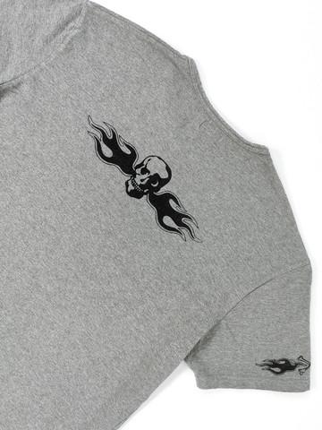 90-luvun miesten pääkallo-liekki-tribaali T-paita, S-M