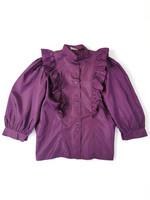 80-luvun violetti röyhelöpaita, M