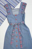 60-70-luvun ruudullinen nappiselkäinen farkkumekko, S