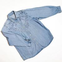 80-90-luvun kukkakoristeinen farkkupaita, S-XL