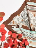 Vintage ruskea-turkoosi ruusuhuivi