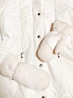Kotimainen valkoinen toppatakki 80-luvulta, M