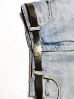 Vintage tummanruskea nahkavyö kuviosoljella, XS-L