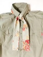 90-luvun kapea solmiohuivi ruusukuviolla