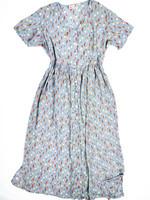 90-luvun sininen tulppaanimekko kreppiviskoosia M-L