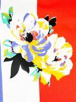 90-luvun kukkahuivi leveillä raidoilla