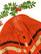 Suuri oranssi vintageponcho solmittavilla nauhoilla